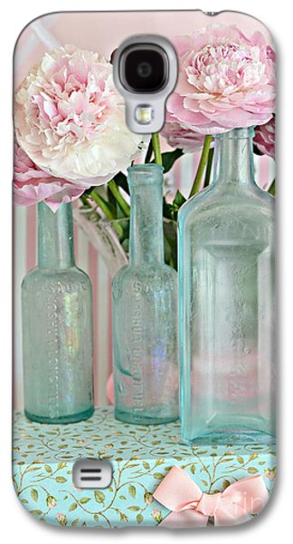 Shabby Chic Pink White Aqua Peonies With Vintage Aqua Bottles - Romantic Shabby Chic Peonies Galaxy S4 Case by Kathy Fornal