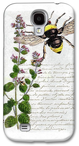 Shabby Chic Thyme Herb Bumble Bee Botanical Illustration Galaxy S4 Case by Tina Lavoie