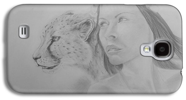 Cheetah Drawings Galaxy S4 Cases - Shaholly and friend Galaxy S4 Case by Duncan Sawyer
