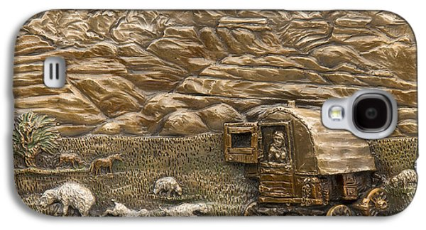 Americans Reliefs Galaxy S4 Cases - Sheep Herders Wagon Galaxy S4 Case by Dawn Senior-Trask