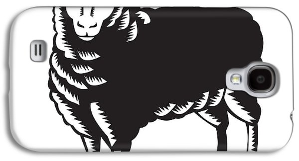 Sheep Digital Art Galaxy S4 Cases - Sheep Side View Woodcut Galaxy S4 Case by Aloysius Patrimonio