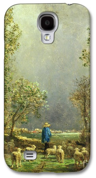 Country Paintings Galaxy S4 Cases - Sheep watching a Storm Galaxy S4 Case by Constant-Emile Troyon