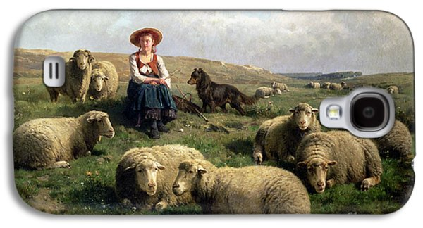Shepherdess With Sheep In A Landscape Galaxy S4 Case by C Leemputten and T Gerard
