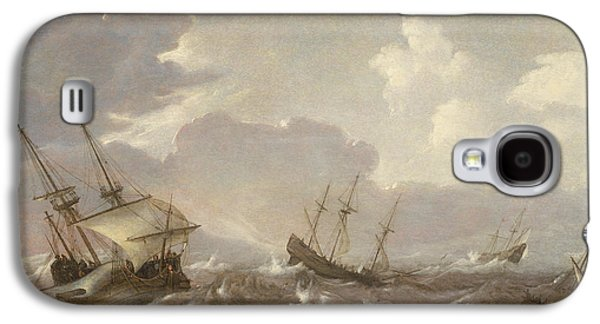 Boats In Water Paintings Galaxy S4 Cases - Shipping in the High Seas Galaxy S4 Case by Pieter the Elder Mulier