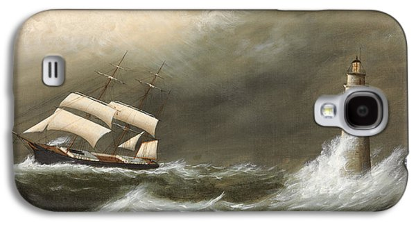 Water Vessels Paintings Galaxy S4 Cases - Ships Passing Minots Light Galaxy S4 Case by Clement Drew