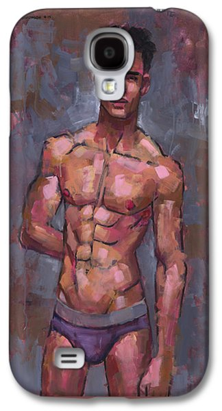 Male Paintings Galaxy S4 Cases - Shirtless on Grey Background Galaxy S4 Case by Douglas Simonson
