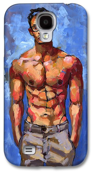 Male Paintings Galaxy S4 Cases - Shirtless with Glasses Galaxy S4 Case by Douglas Simonson