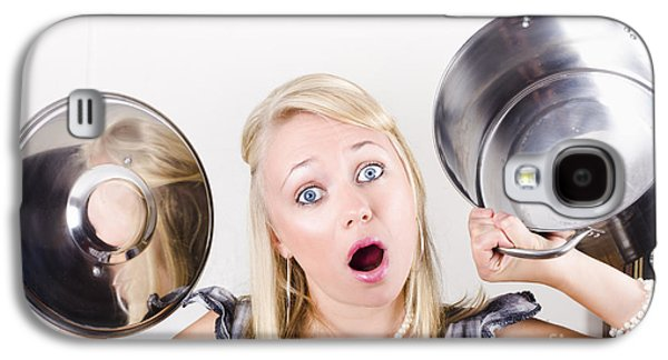 Dismay Galaxy S4 Cases - Shocked caucasian woman holding empty cooking pot Galaxy S4 Case by Ryan Jorgensen