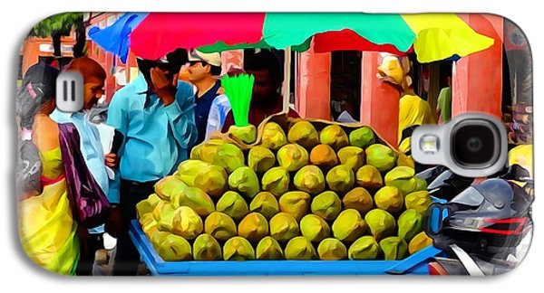 Green Galaxy S4 Cases - Shopping Market Coconuts Exotic Travel Street Scenes Rajasthan India Series 2 Galaxy S4 Case by Sue Jacobi