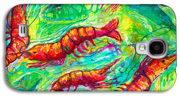 Golden Fish Paintings Galaxy S4 Cases - Shrimp Scramble Galaxy S4 Case by Alexandra Nicole Newton