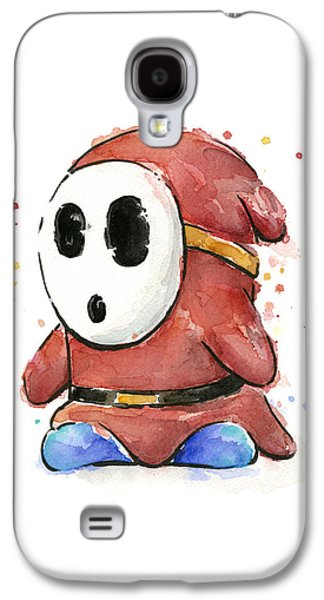 Character Portraits Galaxy S4 Cases - Shy Guy Watercolor Galaxy S4 Case by Olga Shvartsur