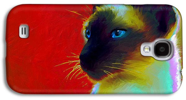Austin Drawings Galaxy S4 Cases - Siamese Cat 10 Painting Galaxy S4 Case by Svetlana Novikova