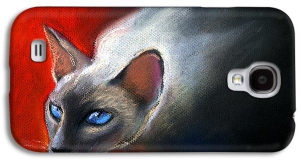 Portrait Pastels Galaxy S4 Cases - Siamese Cat 7 Painting Galaxy S4 Case by Svetlana Novikova