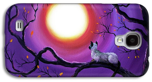 Abstract Nature Paintings Galaxy S4 Cases - Siamese Cat in Purple Moonlight Galaxy S4 Case by Laura Iverson