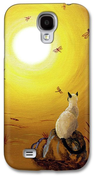 Siamese Cat With Red Dragonflies Galaxy S4 Case by Laura Iverson