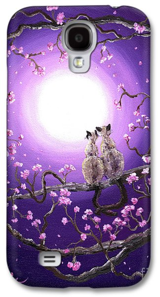 Cherry Blossoms Paintings Galaxy S4 Cases - Siamese Cats in Pink Blossoms Galaxy S4 Case by Laura Iverson