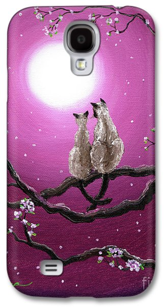 Cherry Blossoms Galaxy S4 Cases - Siamese Cats in Spring Blossoms Galaxy S4 Case by Laura Iverson