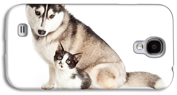 Adorable Galaxy S4 Cases - Siberian Husky Dog Sitting With Little Kitten Galaxy S4 Case by Susan  Schmitz