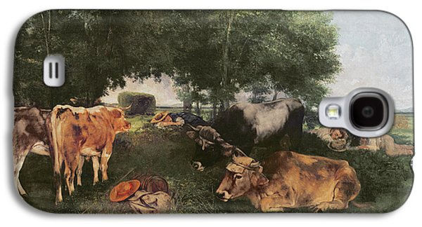 Siesta At Haymaking Time Galaxy S4 Case by Gustave Courbet