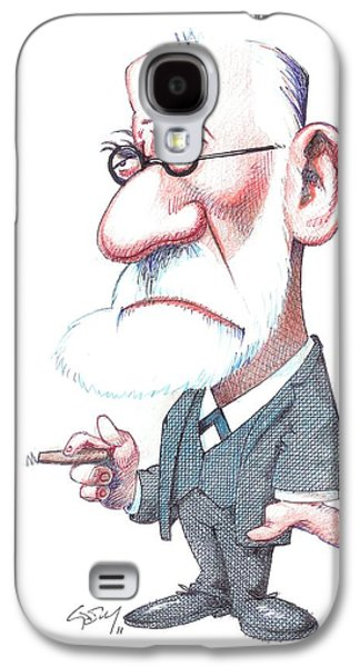 Psychiatry Galaxy S4 Cases - Sigmund Freud, Caricature Galaxy S4 Case by Gary Brown