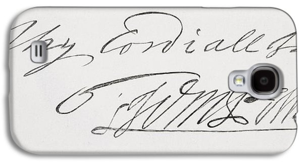 Quaker Drawings Galaxy S4 Cases - Signature Of William Penn 1644 To 1718 Galaxy S4 Case by Ken Welsh