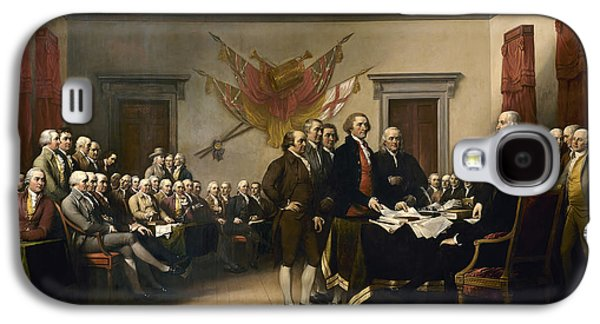 4th July Paintings Galaxy S4 Cases - Signing The Declaration Of Independance Galaxy S4 Case by War Is Hell Store