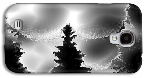 Abstract Digital Mixed Media Galaxy S4 Cases - Silhouette Trees through Fog Galaxy S4 Case by Stephen  Killeen
