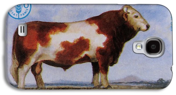 Angus Steer Paintings Galaxy S4 Cases - Simmental Bull Galaxy S4 Case by Lanjee Chee