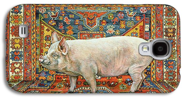 Persian Carpet Galaxy S4 Cases - Singleton Carpet Pig Galaxy S4 Case by Ditz