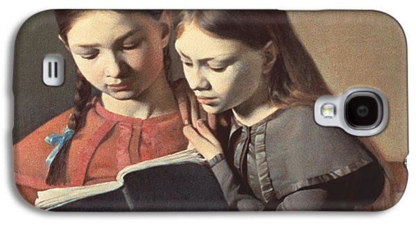 Sisters Reading A Book Galaxy S4 Case by Carl Hansen