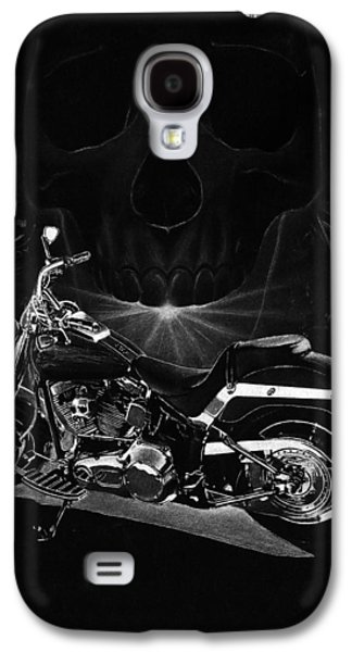 Black Drawings Galaxy S4 Cases - Skull Harley Galaxy S4 Case by Tim Dangaran