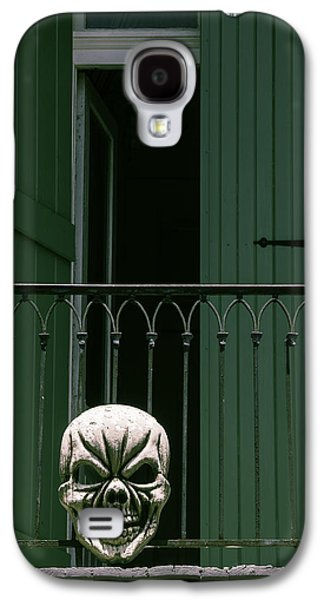 Green Galaxy S4 Cases - Skull On Wrought Iron Rail Galaxy S4 Case by Garry Gay