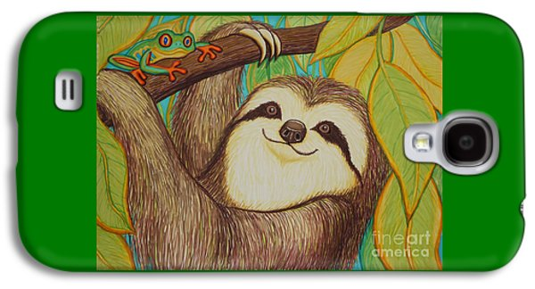 Sloth Drawings Galaxy S4 Cases - Sloth and frog Galaxy S4 Case by Nick Gustafson