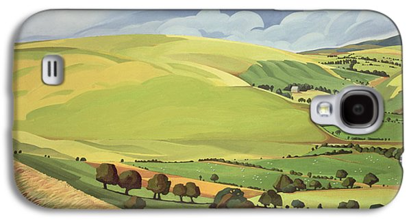 Field. Cloud Paintings Galaxy S4 Cases - Small Green Valley Galaxy S4 Case by Anna Teasdale
