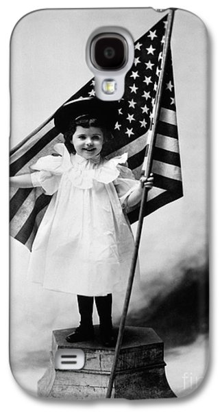 Smiling Little Girl With Us Flag Galaxy S4 Case by H. Armstrong Roberts/ClassicStock