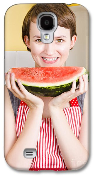 Youthful Galaxy S4 Cases - Smiling young woman eating fresh fruit watermelon Galaxy S4 Case by Ryan Jorgensen