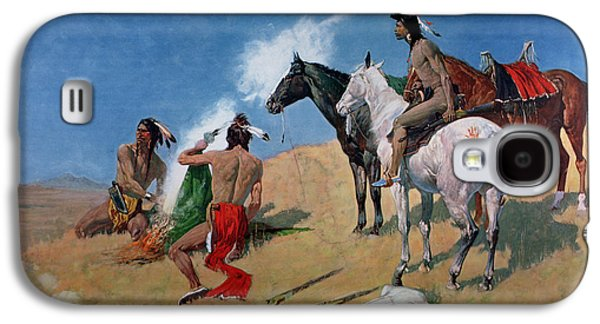 Bison Paintings Galaxy S4 Cases - Smoke Signals Galaxy S4 Case by Frederic Remington