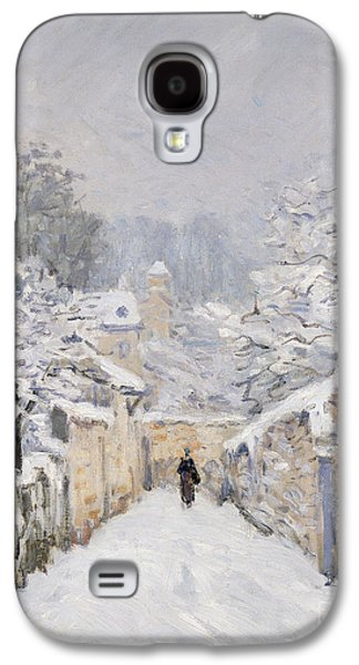 Snow-covered Landscape Galaxy S4 Cases - Snow at Louveciennes Galaxy S4 Case by Alfred Sisley
