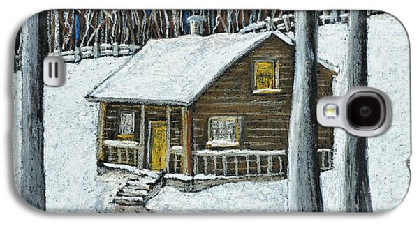 Snowy Evening Galaxy S4 Cases - Snow on Cabin Galaxy S4 Case by Reb Frost