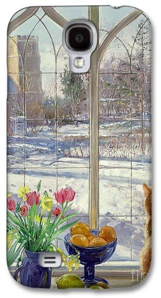 Winter Scene Paintings Galaxy S4 Cases - Snow Shadows and Cat Galaxy S4 Case by Timothy Easton
