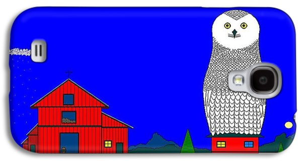 Snowy Owl On Red House. Galaxy S4 Case by Richard Magin