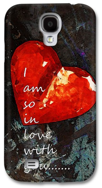 Engagement Digital Galaxy S4 Cases - So In Love With You - Romantic Red Heart Painting Galaxy S4 Case by Sharon Cummings