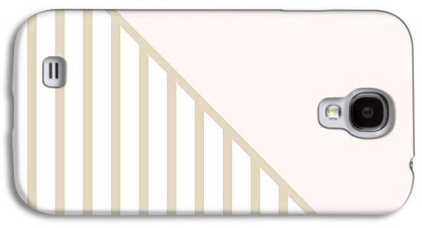 Geometric Shape Galaxy S4 Cases - Soft Blush and Champagne Stripe Triangles Galaxy S4 Case by Linda Woods
