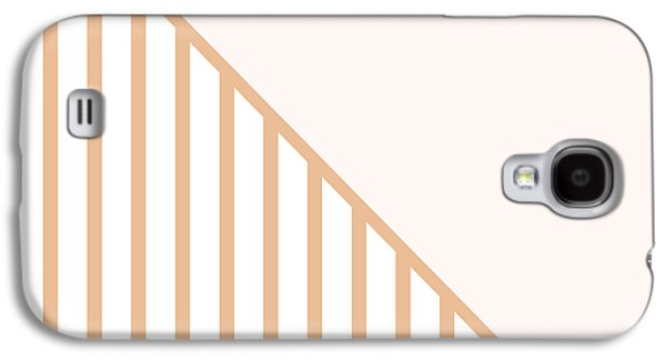 Geometric Shape Galaxy S4 Cases - Soft Blush and Coral Stripe Triangles Galaxy S4 Case by Linda Woods