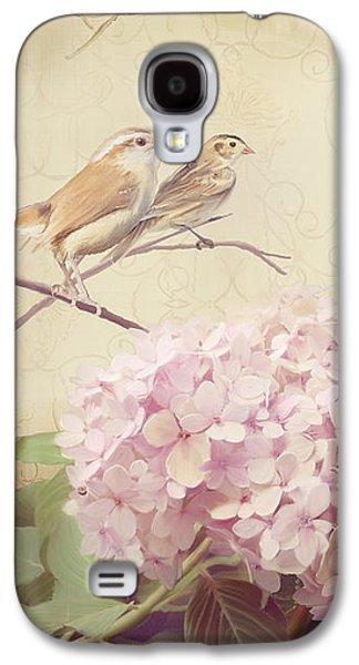 Softly Summer - Carolina Wrens W Blush Pink Hydrangeas Galaxy S4 Case by Audrey Jeanne Roberts