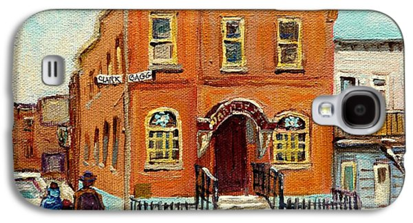 Montreal Storefronts Paintings Galaxy S4 Cases - Solomons Temple Montreal Bagg Street Shul Galaxy S4 Case by Carole Spandau