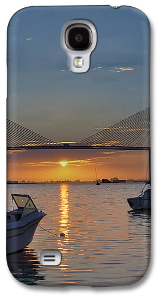 Sunshine Skyway Bridge Galaxy S4 Cases - Something About a Sunrise Triptych 2 Galaxy S4 Case by Bill Cannon