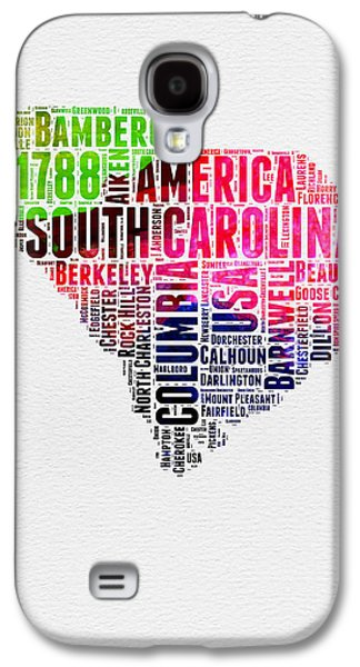 4th Of July Mixed Media Galaxy S4 Cases - South Carolina Watercolor Word Cloud Galaxy S4 Case by Naxart Studio