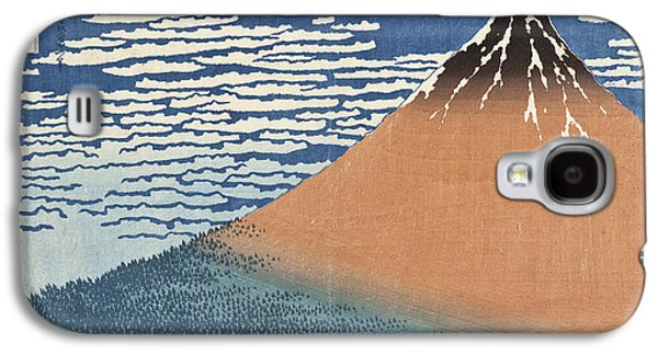 Snow Capped Galaxy S4 Cases - South Wind Clear Dawn Galaxy S4 Case by Katsushika Hokusai