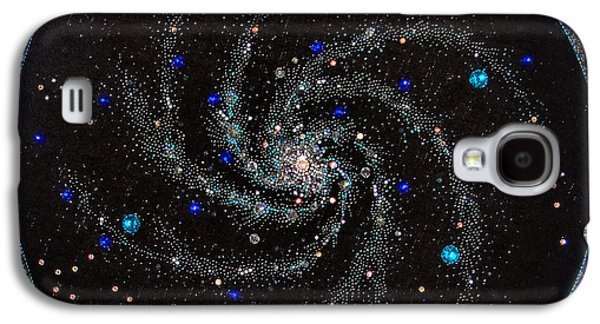 Spiral Jewelry Galaxy S4 Cases - Space galaxy beadwork art bead embroidery Galaxy S4 Case by Sofia Metal Queen
